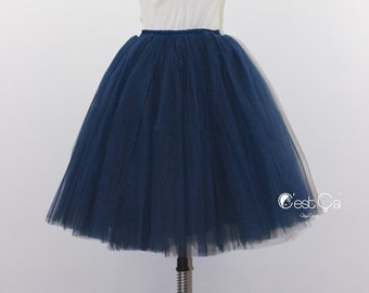 7acd944df0 Clarisa - Navy Blue Tulle Skirt, 7-Layers Puffy Tutu, Dark Blue Swiss Tulle  Princess Tutu, Knee Length Midi Tutu