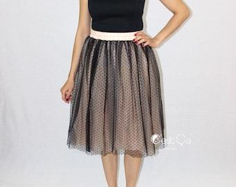 Betty Black Polka Dot Tulle Skirt, Polka Dot Skirt, Black Tulle Skirt, Adult Tutu, Polka Dot Tutu, Midi Tulle Skirt, Birthday Skirt