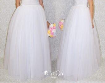Clarisa - Maxi Tulle Skirt, Wedding Tulle Skirt, White Tulle Skirt, Bridal Skirt, Puffy Tutu, Adult Tutu, Engagement Skirt, Wholesale