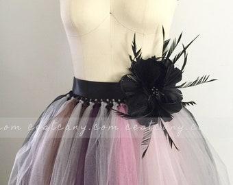 Amy Black Flower Sash, Tulle Skirt Sash, Bridesmaids Sash, Maternity Photoshoot Sash, Gothic Sash, Birthday Sash, Wholesale