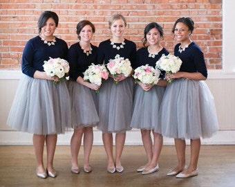 Clarisa - Ash Gray Tulle Skirt, Bridesmaids Skirt, Charcoal Gray Adult Tutu,  Puffy Tutu, Princess Tutu, Midi Tutu, Plus Size Tulle Skirt
