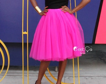 7b0037802f Clarisa - Fuchsia Tulle Skirt, Hot Pink Tulle Skirt, Midi Tulle Skirt, Tutu  Skirt, Bridesmaid Skirt, Birthday Skirt, Plus Size Tulle Skirt