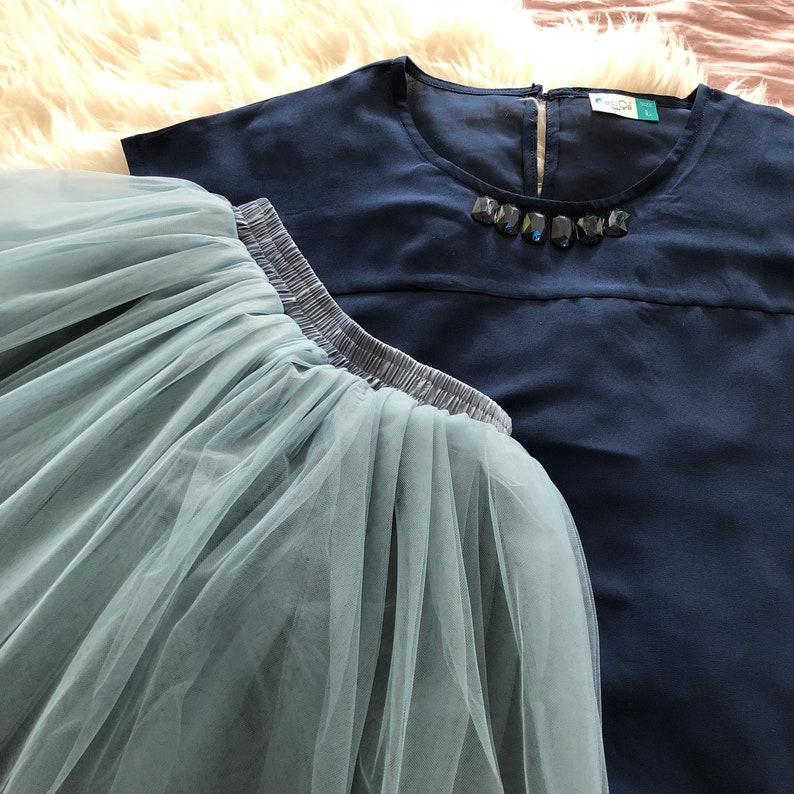 b90ae6e91d Clarisa - Dusty Blue Tulle Skirt, Blue Puffy Princess Tutu, Bridesmaids  Skirt, Regular Midi Tulle Skirt, Plus Size Tulle Skirt, Wholesale