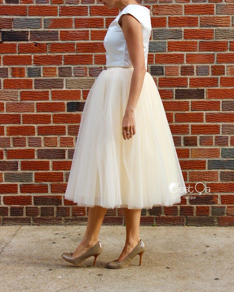 dc66153d4a Clarisa Champagne Tulle Skirt Ivory Tulle Skirt Tea Length | Etsy