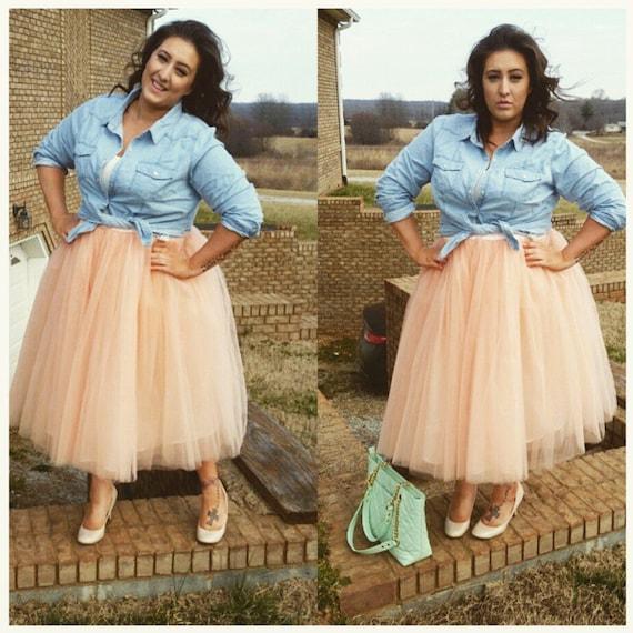 Plus Size Clarisa Tulle Skirt Tea Length Tutu Blush Tulle Etsy