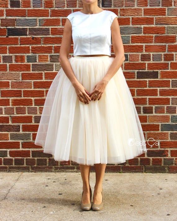 b173d2429b3 Clarisa Champagne Tulle Skirt Ivory Tulle Skirt Tea Length