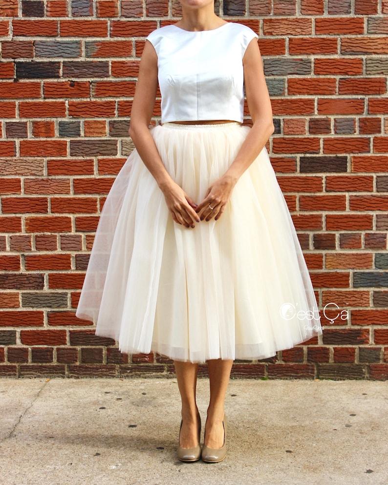 2cde7609ce Clarisa Champagne Tulle Skirt Ivory Tulle Skirt Tea Length | Etsy