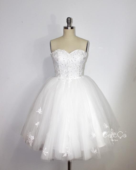 Amanda Snow White Midi Wedding Dress Straples Tulle Dress | Etsy