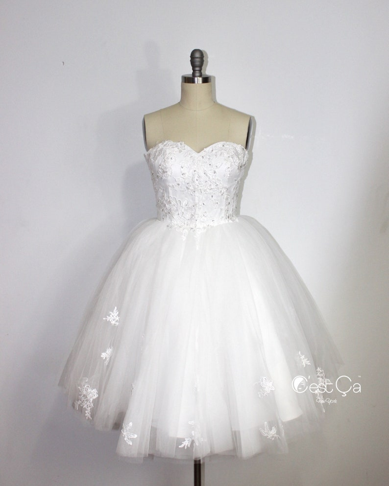 Amanda Snow White Midi Wedding Dress Straples Tulle Dress  92f6356ae