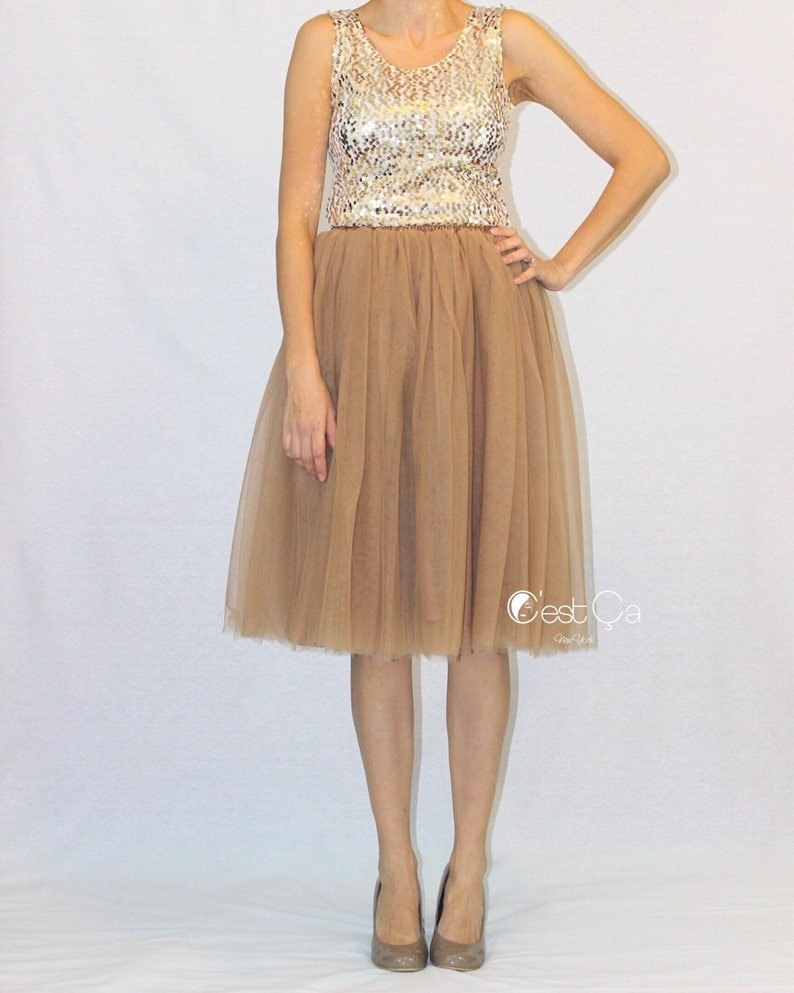 530c7cd702 Colette Light Coffee Tulle Skirt Soft Tulle Skirt Below | Etsy
