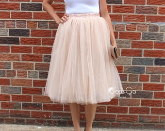 Claire - Tulle Skirt, Beige Tulle Skirt, Champagne Tulle Skirt, Soft Tulle Skirt, Tea Lengh Tulle Skirt, Adult Tutu, Tea Length Tulle Skirt