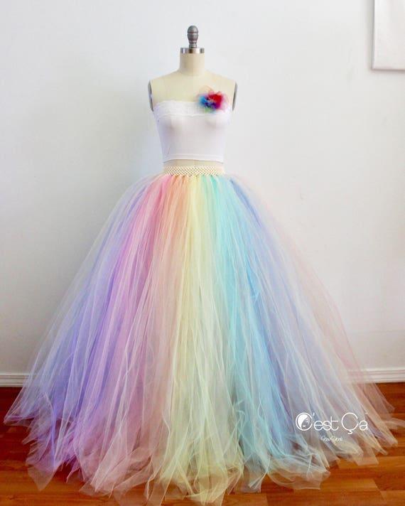 Used Plus Size Ball Gowns: Pastel Rainbow Maxi Tulle Skirt Puffy Rainbow Tutu