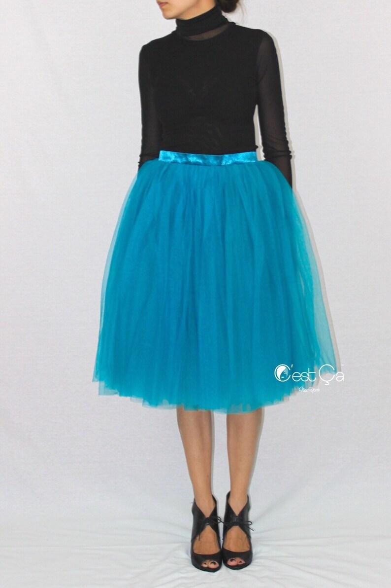 39038ef0f5 Colette Teal Tulle Skirt Soft Tulle Skirt Tea Length Tutu | Etsy