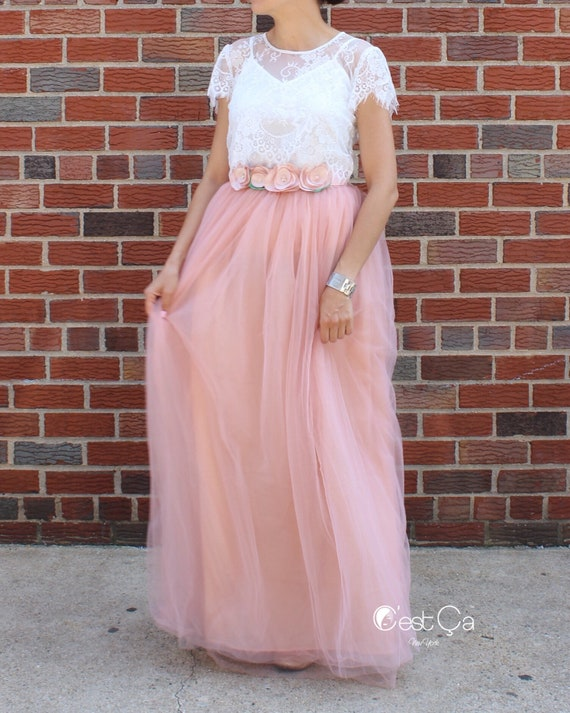 65c58ade69 Claire Gray Pink Maxi Tulle Skirt Wedding Tulle Skirt | Etsy