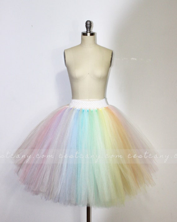 Girls 4 Layered Tulle Rainbow Dancing Tutu Elastic Puffy Tulle Skirt for Baby