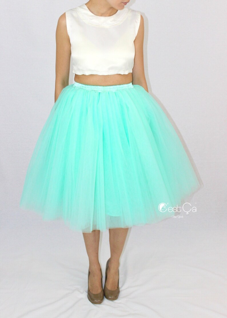 921541c2bf Clarisa Mint Green Tulle Skirt 6-Layers Puffy Tutu Adult | Etsy