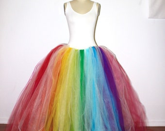 Rainbow Maxi Tulle Skirt, Aletrnative Wedding Skirt, Plus Size Tulle Skirt, Puffy Tulle Skirt, Bridal Tulle Skirt