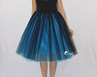 Ciara - Ombre Tulle Skirt in Black & Turquoise, Puffy Princess Tutu, Knee Length Midi Tulle Skirt, Bridesmaids Skirt, Plus Size Skirt