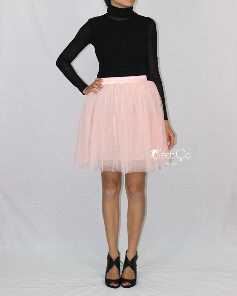 1e40cfaa9e2d Beth Blush Pink Tulle Skirt Polka Dot Tulle Skirt Mini   Etsy