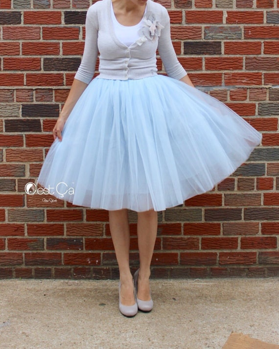 35a18ace656 Clarisa Baby Blue Tulle Skirt Blue Gray Tutu 6-layers