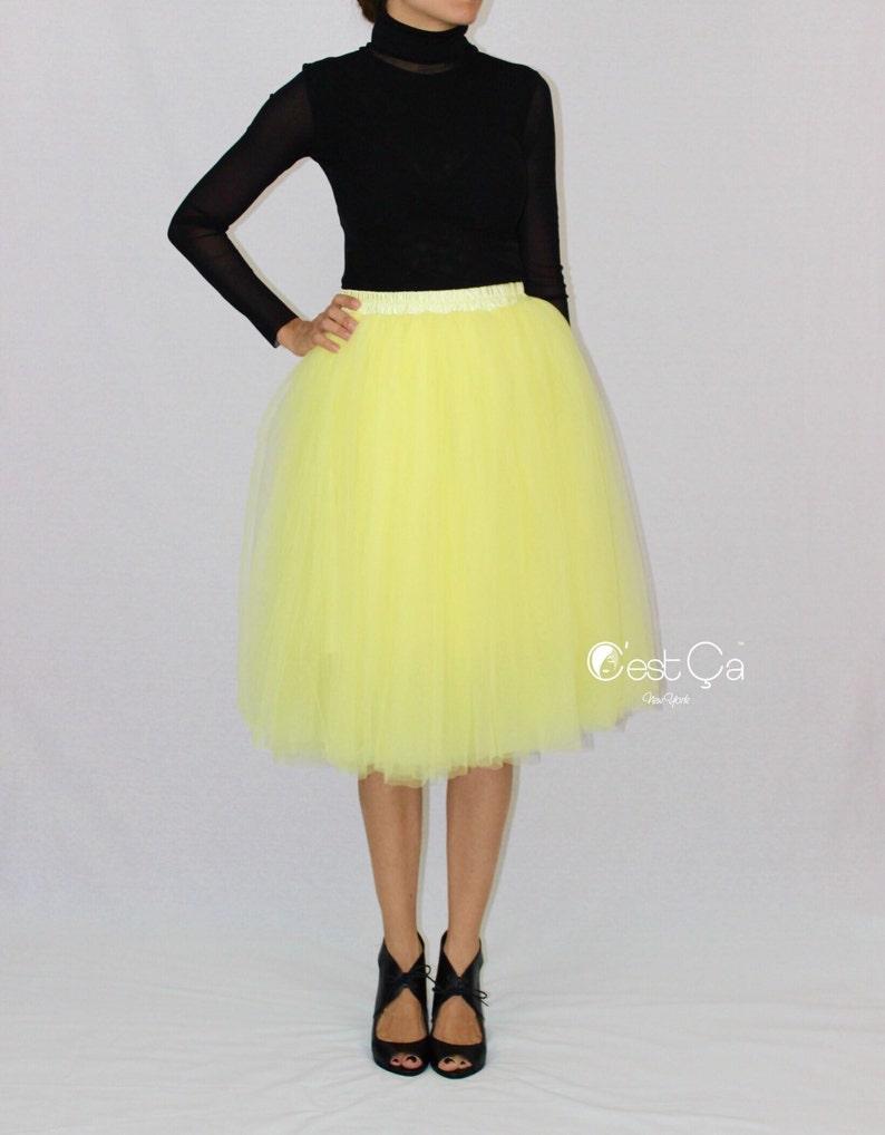f69b0400fb Colette - Lemon Yellow Tulle Skirt, Soft Tulle Skirt, Tea Length Tulle  Skirt, Adult Tutu, Plus Size Tulle Skirt