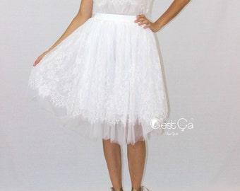 Brigitte - Bridal Tulle Lace Skirt, White Tulle Skirt, Bridal Skirt, Braidesmaids Skirt, Plus Size Tutu, Midi Tulle Skirt, Wholesale