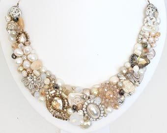 Statement Necklace- Bridal Bib Necklace- Vintage Inspired Bib- Antique Bib- Champagne Wedding Bib- Collar necklace- Brass Boheme