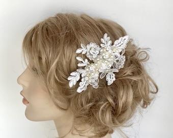 Bridal Hairpiece- Wedding Comb- Bridal Hair Accessories- Wedding Hairpiece- Bridal Hair Comb- Lace Bridal Comb- Pearl & Rhinestone Comb