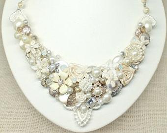 Statement Necklace- Bridal Bib Necklace- Wedding Necklace- Ivory Bridal Necklace-Vintage Inspired Necklace- Brass Boheme-Vintage Wedding Bib