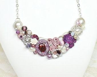 Statement Necklace- Deep Purple Necklace- Purple Bridal Bib- Wedding Necklace- Plum Bridal Bib- Bridal Bib Necklace- Purple Statement Bib