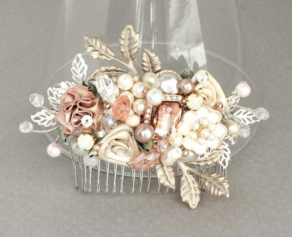 Rose Gold Bridal Comb Bridal Hair Accessories Rose Gold Etsy
