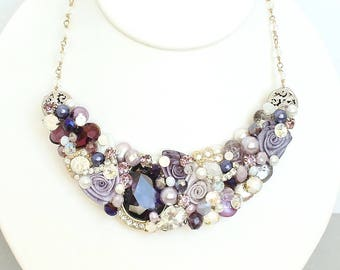 Purple Bib Necklace- Statement Necklace- Purple Bib Necklace- Purple Rhinestone Necklace- Purple Statement Necklace- Eggplant Necklace