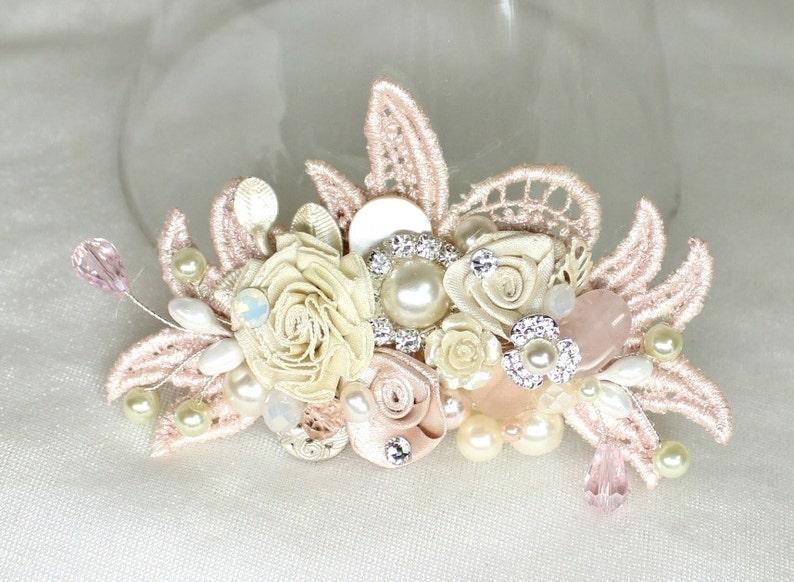 Blush Bridal Comb Blush Floral Hair Comb Bridal Hair Accessories Bridal Hairpiece Wedding Hair Piece Blush Hair Comb Pink Hair Clip