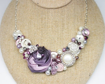 Statement Necklace- Purple Bridal Bib- Purple Bib Necklace- Purple Necklace- Plum Statement Necklace- Eggplant Wedding Bib- Plum Necklace