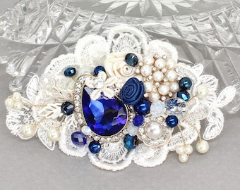 Sapphire & Ivory Bridal Comb- Bridal Hair Accessories- Blue bridal comb- Sapphire Hairpiece- Cobalt Hair Accessory- Wedding Hair Accessories