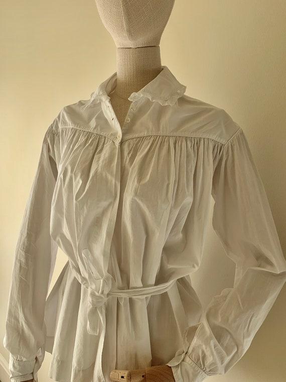 Original Vintage 1910s French Edwardian Cotton Shi