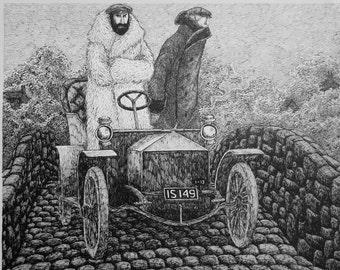 VINTAGE large EDWARD GOREY print / poster 1970s The Other Statue Victorian attire Fur open-top automobile Gory