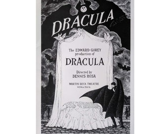 VINTAGE large Edward GOREY print / poster 1970s  DRACULA New York Broadway production Count Dracula and Lucy cape Vampire bat Halloween moon