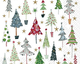 High Quality 3 PLY for Decoupage  Parties  Weddings 4 Paper Napkins  Serviettes Red Christmas Trees