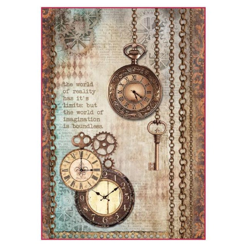 Decoupage Stamperia Vintage Clocks 1 x A4 Size Sheet Rice Paper