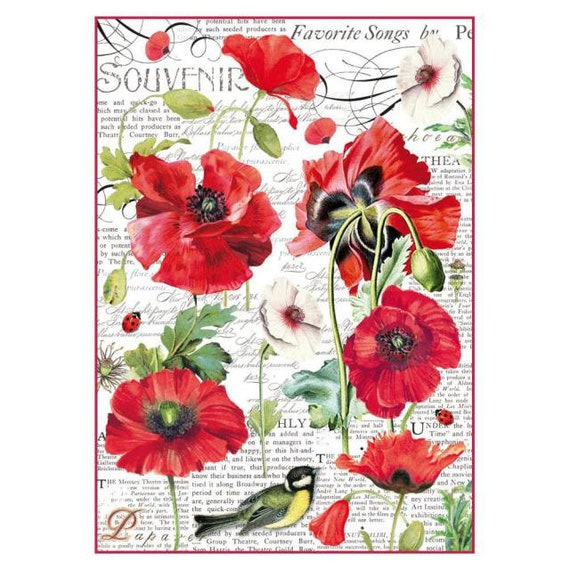 Rice Paper for Decoupage Scrapbooking Sheet Craft Vintage Poppy Red Flo Flowers