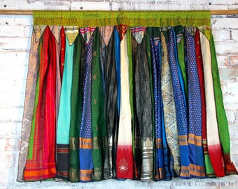 Boho Curtain Sari Valance Window Curtains Silk Border Hippie Ribbon Backdrop Gypsy Gerald Colorful