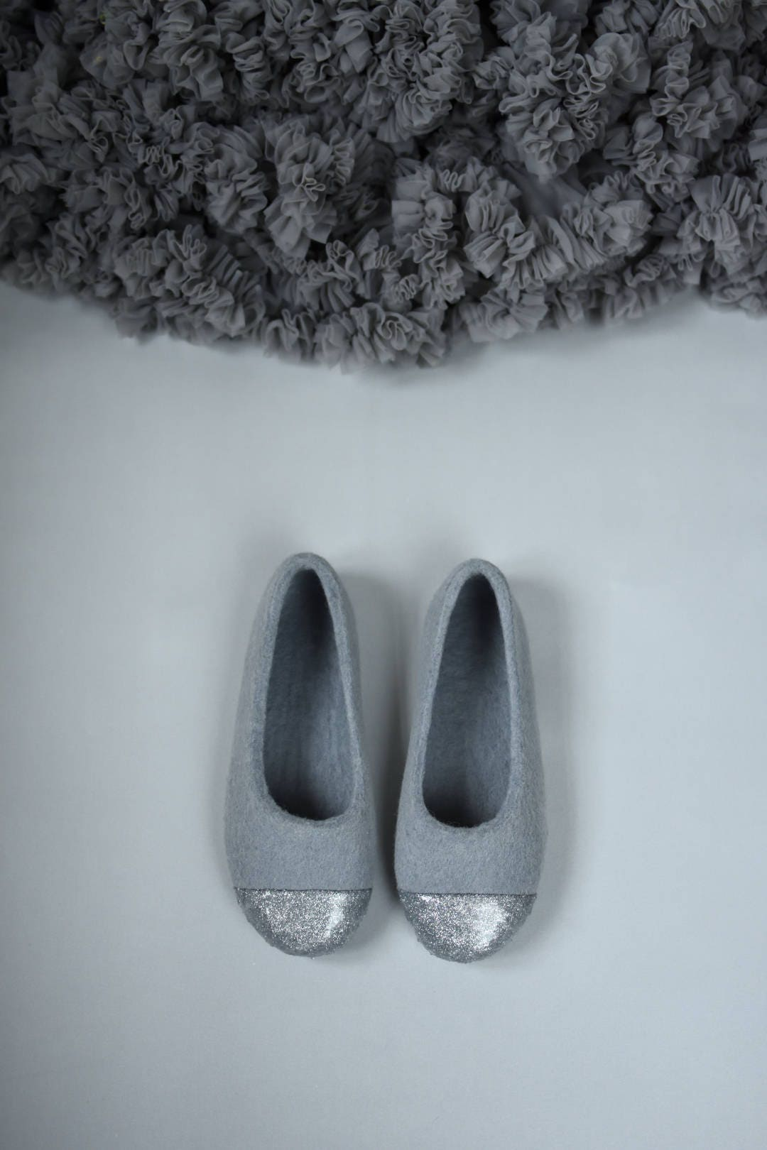 Grey Felted Slippers With Silver Glitter Decoration Felt Slippers