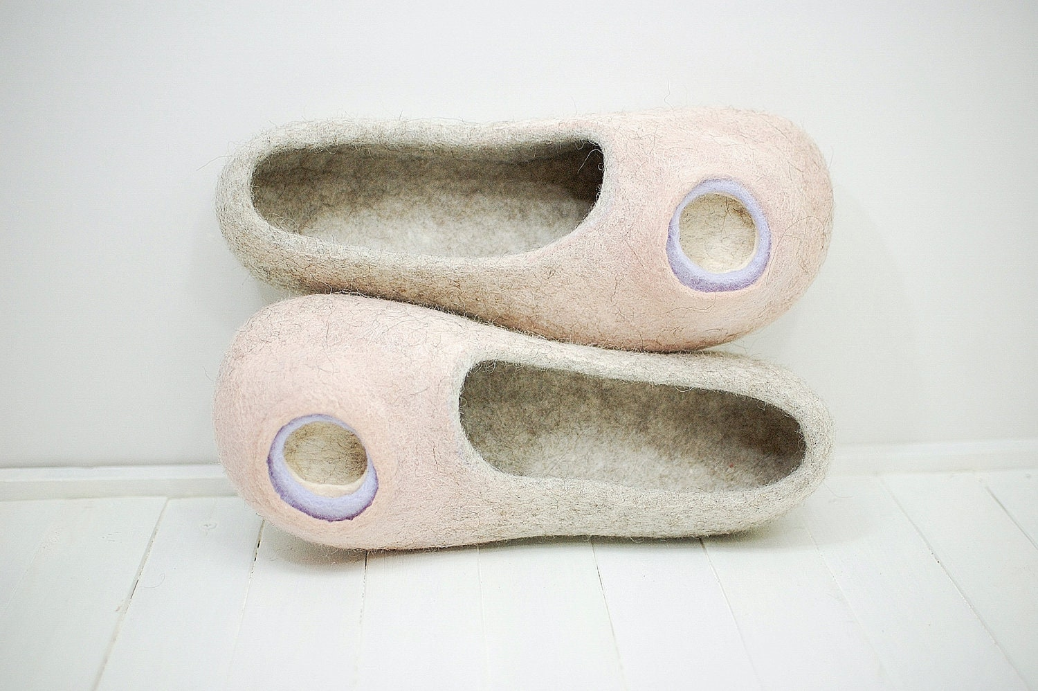 Women Hause shoes - Felted slippers  natural lilac beige, powder and lilac natural 76ae1a
