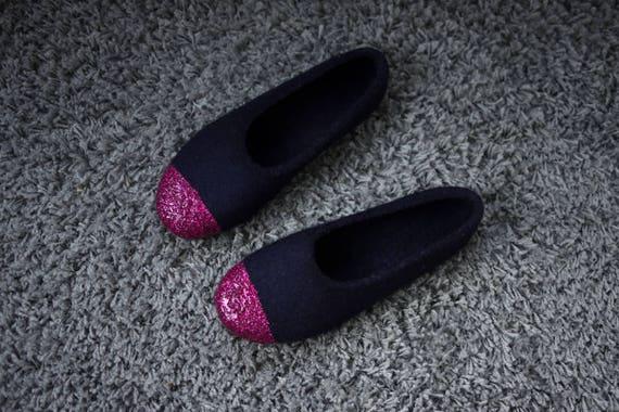 56bea1e7b694 Felted ballet flats for women Dark navy wool slippers Felted | Etsy