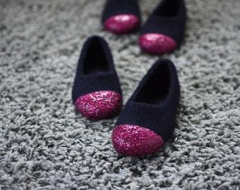 Felted Slippers for Girls - Felted Ballet Flats - Glitter House Slippers -Navy Slippers - Junior Felt Slipper - Wool Felt Slippers - Fuchsia