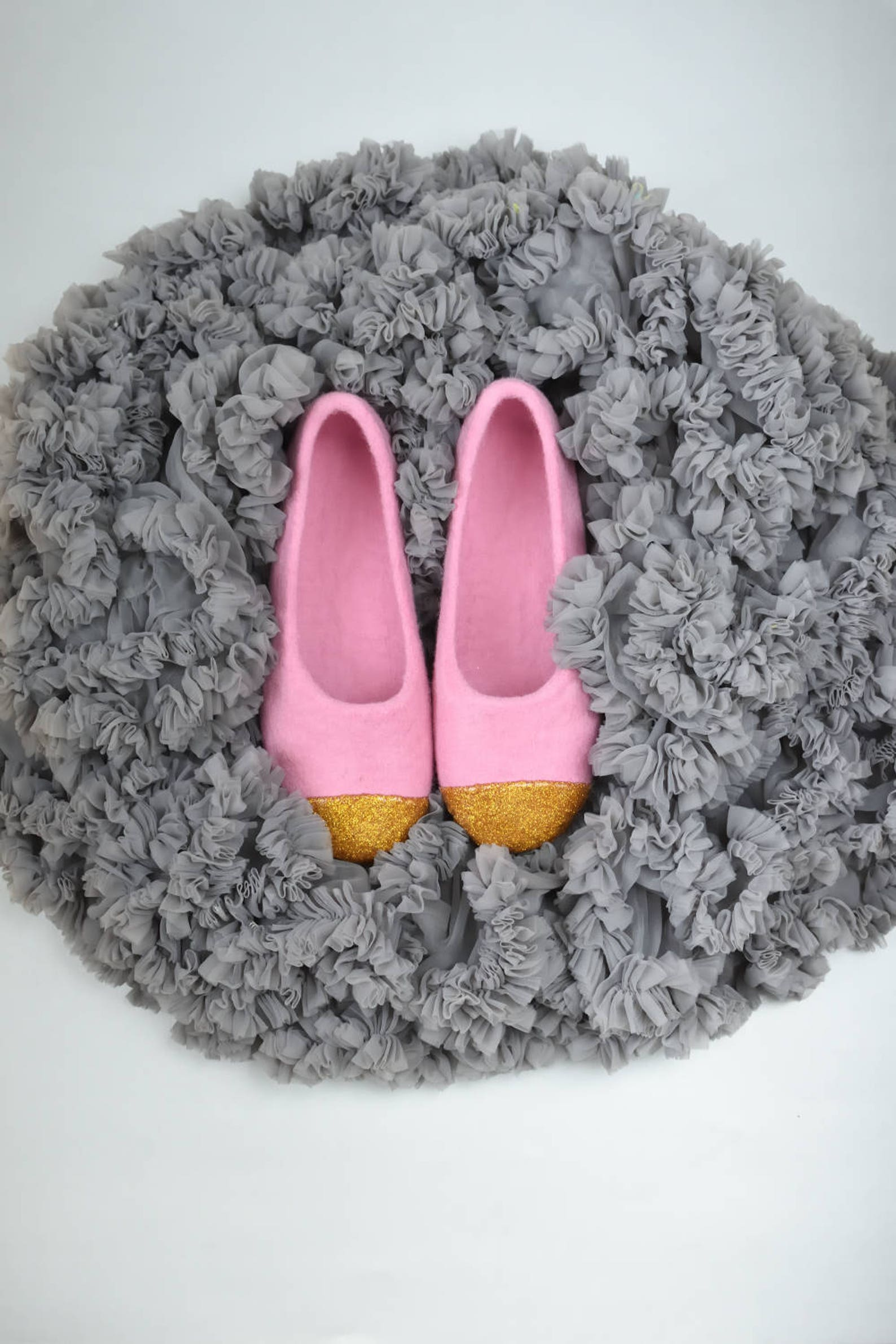 pink felt slippers for women felted ballet flats - felted slippers with gold glitter decoration hand dyed organic wool slippers
