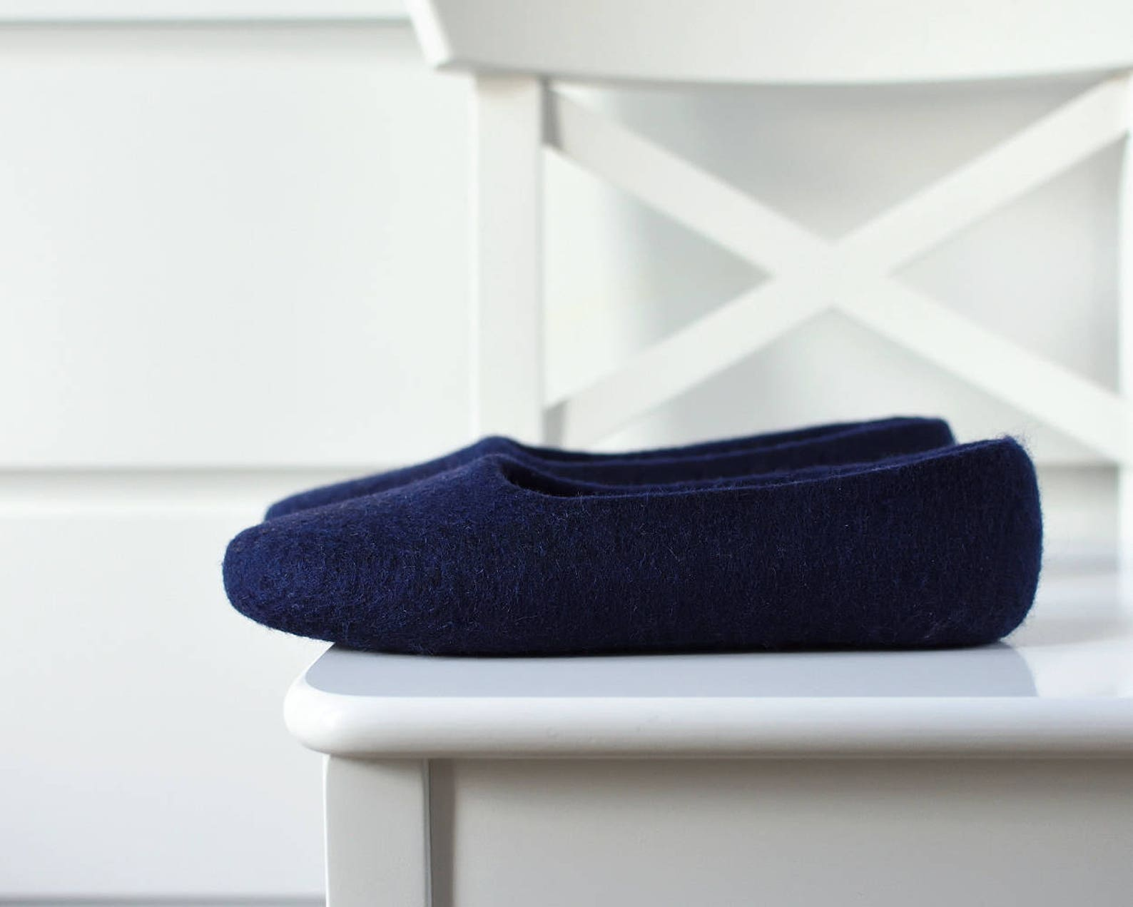 navy felt slippers for women - hand dyed wool slippers - felted ballet flats - indoor footwear women - minimalist mother's d