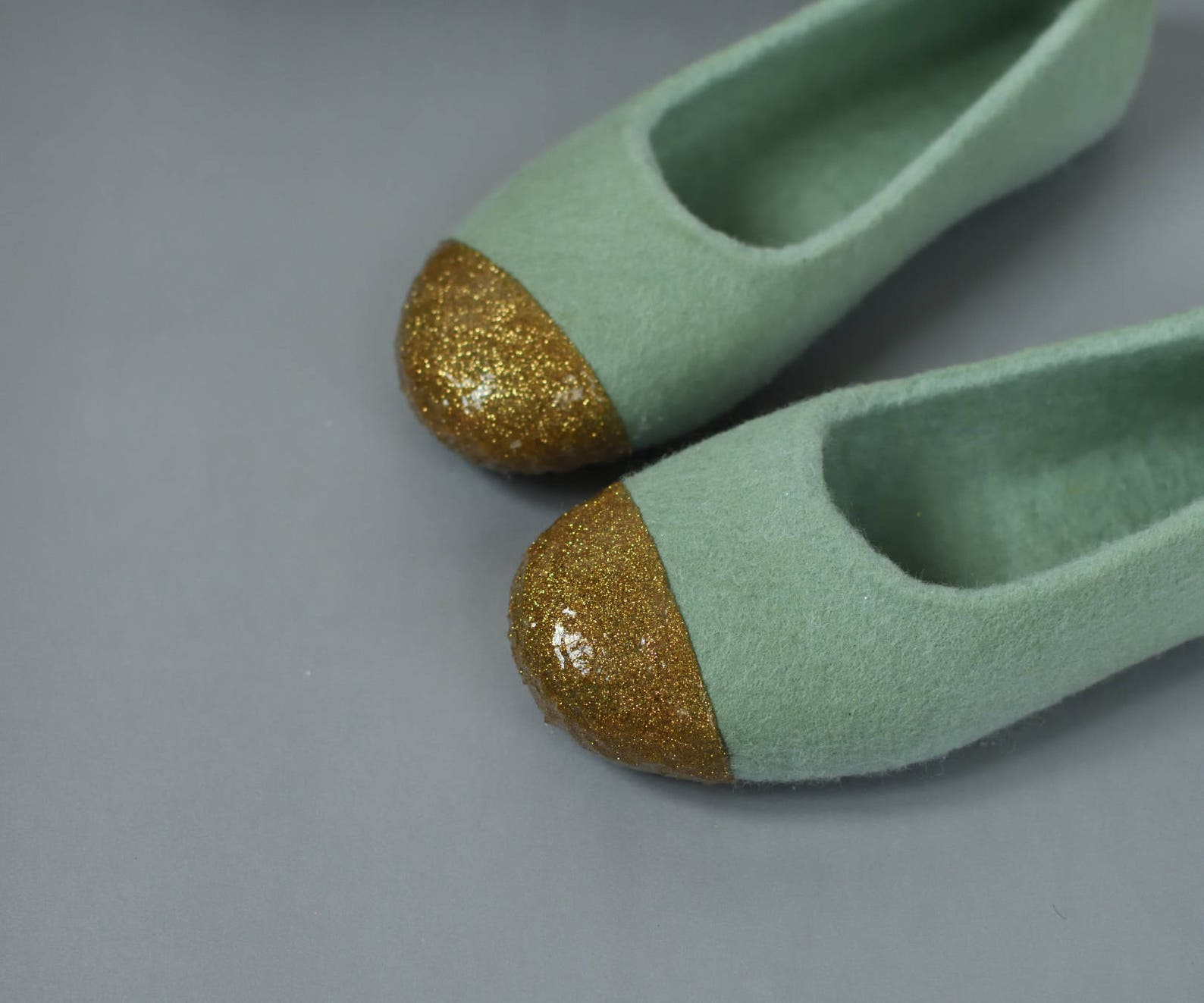 green felt slippers for women felted ballet flats - felted slippers with gold glitter decoration hand dyed sage green organic wo