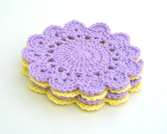 Crochet Coaster Pattern Scallop Circle Coaster Pattern Etsy